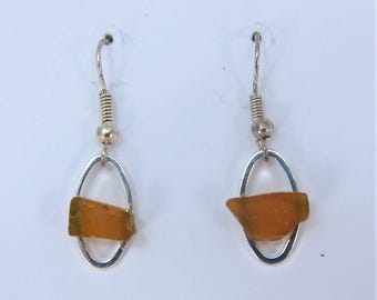 Littest's Mermaid's Tears Earrings - Amber sea glass from South Shore of Nova Scotia, Canada on small silverplate oval