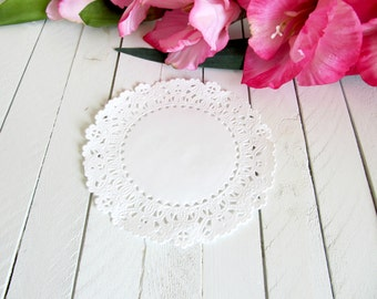 White 4 inch Normandy Lace Paper Doilies - paper doilies, lace paper doilies, paper lace doilies, white paper doilies, paper embellishments