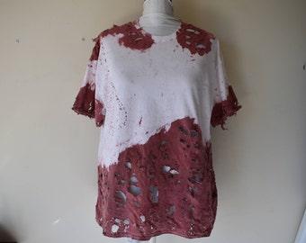 Men's Blood Splatter Distressed Bloody T-Shirt Zombie Apocalypse Cosplay Costume Shirt Wastelander Wasteland Dystopian Cosplay Men's 2XL