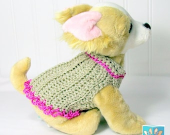 Dog sweater Custom XSmall Sizes for Micro-teacup to small dogs Hand Crocheted Re-Ravelled yarn Designer Sweaters Gold Metallic Pink Magenta