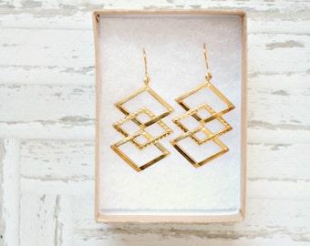 Chandelier earrings, statement earrings, gold chandelier earrings, chevron, chevron earrings, long earrings, gift for her