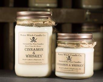 Cinnamon & Whiskey booze scented soy wax candle in 16oz. Mason Jar