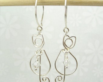 CAT SILVER EARRINGS, sterling silver cat earrings with crystal birthstone pet earrings delicate earrings