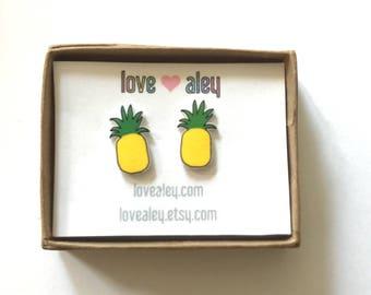 Pineapple Earrings tiny earrings cute earring pineapple jewelry adorable pineapple earrings summer earrings tropical