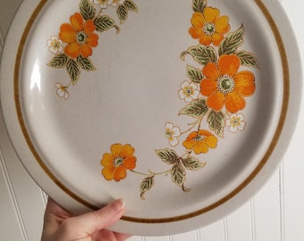 Vintage Orange Floral Plates