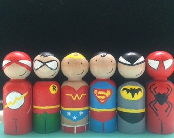 Superhero peg dolls / cake toppers / collectibles - set of 6
