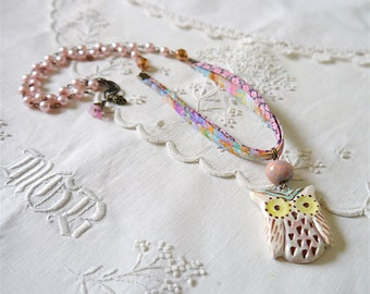 Bohemian Style Necklace, Ceramic Owl Pendant, Liberty of London Ribbon, Assorted Faux Pearl and Faceted Glass Beads
