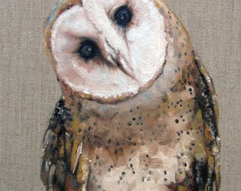 "Barn Owl ""Peepers"" Country art, Archival PRINT of original painting & Free Shipping!"