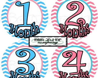 12 precut Month to Month stickers Baby monthly Stickers Baby Shower gift Baby Month stickers Baby girl nursery