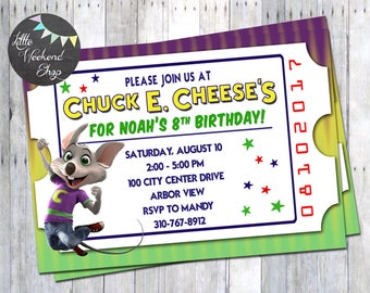 Personalized chuck e cheese birthday invitation chuck e cheese birthday party invitation for chuck e cheese party invites with chuck filmwisefo Images