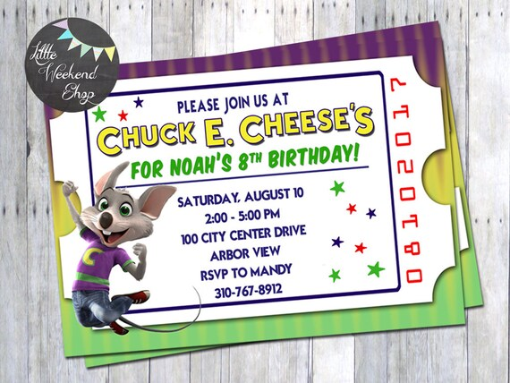 Chuck e cheese birthday party invitation for chuck e cheese filmwisefo Gallery