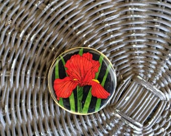 Handmade red orchid pin