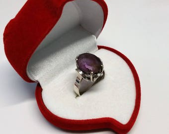 18 mm ring 835 with Amethyst shabby vintage SR781