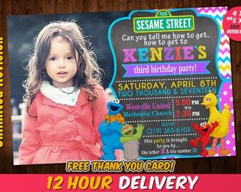 Sesame Street Birthday Invitation for Girls with FREE Thank you card, Elmo, Cookie Monster, Big Bird, Chevron Invitation