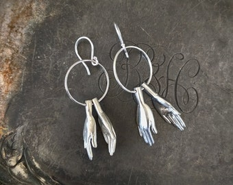 Clapping Hands Silver Earrings (sterling silver, jewelry, unique, handmade, fair trade, gift)