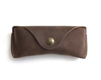 Leather Glasses case personalized universal size espresso brown