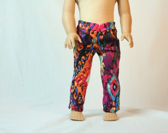 Colorful Doll Jeans, Trendy Denim Doll Jeans, Made to Fit American Girl Doll Jeans, 18 inch Doll Jeans, Doll Jeans