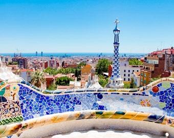 Barcelona photography, Park Güell, Barcelona, Spain, Gaudí, Colorful, Tiles, Architecture, Photography, Prints, Wall Art, Fine Art Prints