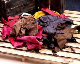 1 kg Leather Scraps Offcuts, Pieces, Trimmings - Cowhide, Sheep Skin Leather -  Mix Jewelry - Assorted Colors Cuir - Mixed Polochon Fabric