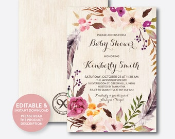 Instant Download, Editable Floral Baby Shower Invitation, Floral Invitation, Flower Baby Shower Invitation, Boho Rustic Baby Shower (FBS.11)