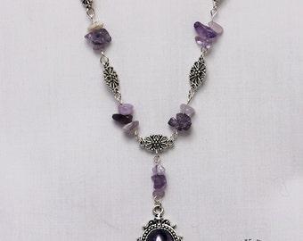 Amethyst cabochon, beaded drop necklace (Code BNST004)