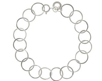 Silver loop bracelet, sterling silver chain bracelet. Silver chain link bracelet. Stocking filler.  Free delivery worldwide.