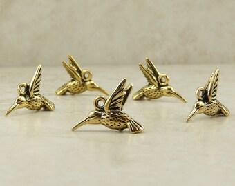 5 TierraCast Hummingbird Charms > Humming Bird Garden Pollenation - 22kt gold Plated Lead Free Pewter - I ship Internationally 2120
