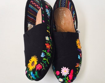 Night Blooms Flower Custom Toms Shoes