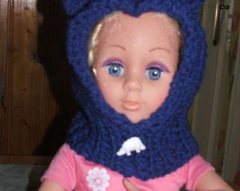 Blue hood with ears 6/18 months - handmade - acrylic yarn