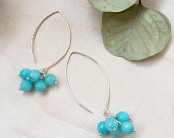 Faceted Amazonite and Sterling Silver Cluster Earrings