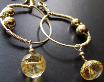 The Small Wire Wrapped Gold Hoops With Fancy Faceted Citrine Drops