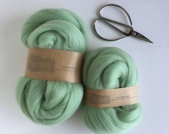 Organic Merino Wool Roving 639 Mint
