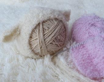 Newborn Lamb Bonnet/Newborn Lamb Hat/Newborn Alpaca Bonnet