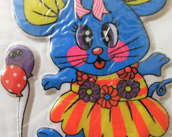Vintage Puffy Stickers, Kitschy Stickers, Large Mouse Sticker, Neon Colors, 1980s Puffy Sticker, New Old Stock Mouse Sticker, Fruit Stickers