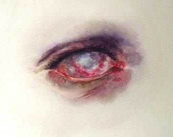 Zombie Eye 8 x 8 Giclee Print Macabre Art Watercolour Reproduction Dark Horror Eyeball Bloody