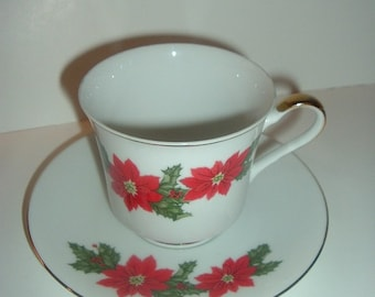 Lefton Poinsettia pattern Cup & Saucer
