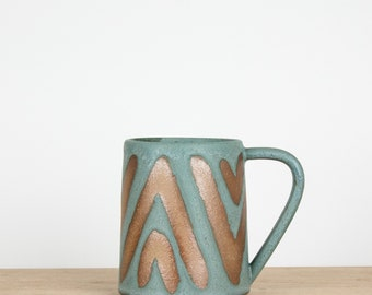 Blue Mudcloth Pottery Mug  |  Coffee mug  |  Ceramic Mug  |  Boho chic stoneware mug  |  Pottery coffee mugs  |  Coffee cup  |  Cute Mug