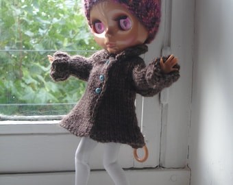 NEW PRICE - Winter coat chocolate-brown wool for Blythe, Pullip dolls, Momoko, Barbie and similar formats of dolls
