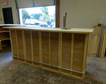 Home Bar Furniture, Solid Wood, 72x24x42, Keg Tap, Drip Plate, Finishing  Colors Available