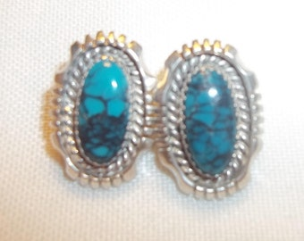 Vintage Estate Turquoise Signed LS Silver Earrings
