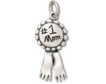 Sterling Silver 19x9.5mm #1 Mom Ribbon Charm (sku 585 - CHSS-FA-1MOM)