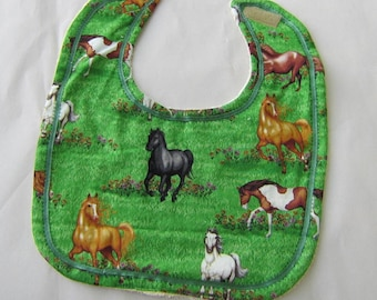 HORSE BREEDS Green Color Cotton Fabric Oversize Baby Bib w/Hook & Loop Closure