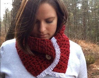 Red Cowl with Vintage Button and Lace