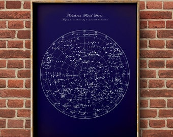 Northern Stars chart print, Fixed stars chart, star print, astronomy room decor, astronomy poster, celestial wall art, dorm wall