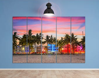 Miami Ocean Drive At Sunset Leather Print Large Multi Panel