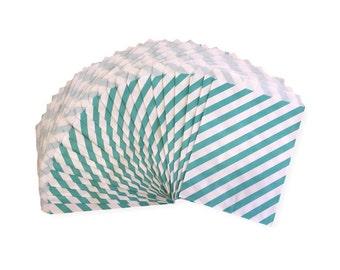 Aqua Diagonal Stripe Candy Treat Bags, Party Favor Bags, Party Supplies