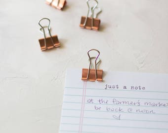 Rose Gold Medium Metal Binder Clips - 9 pc