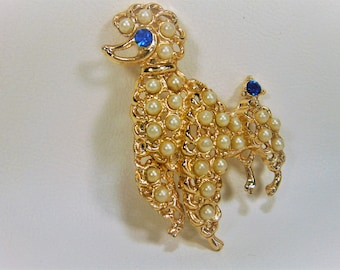 Poodle Pin with Faux Seed Pearls and Sapphire Crystal Eye, Animal Brooch, Dog Brooch, Gold Tone Dog Pin, 1950's, French Poodle Pin, Gold Pin