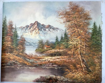 Large 1980s Autumn Landscape Painting of a Mountain Original Art Wall Hanging Home Decor