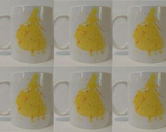 6 Same Silhouette print mugs hand painted mug